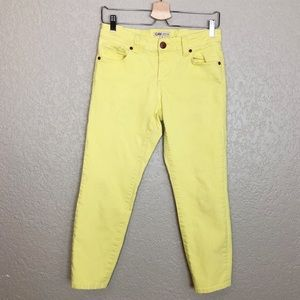 EUC CAbi Limon Bree bright yellow cropped jeans